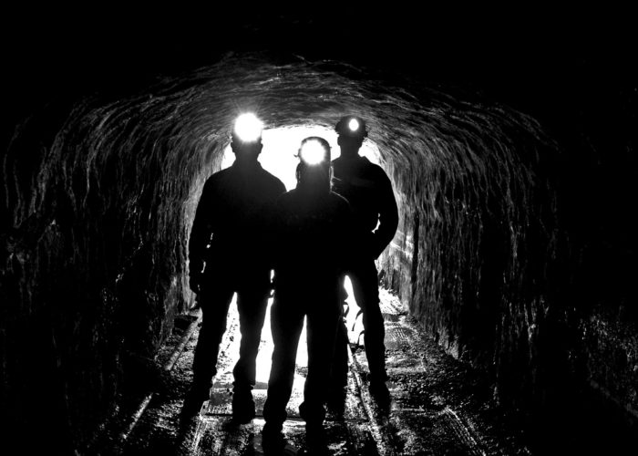 Silhouettes Coal Mine Entrance Head Lamps